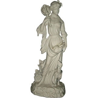 English Large Parian of A woman and Lamb