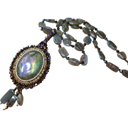 Embroidered Labradorite Cabochon Necklace
