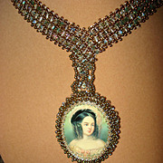 Hand Painted Portrait Swarovski Crystal Necklace