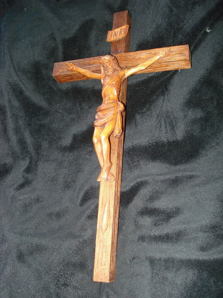 Vintage Hand Carved Wooden Crucifix