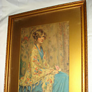 Hand Coloured Engraving The Blue Gown