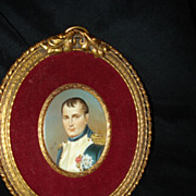 Miniature French Portrait Of Napoleon Bonepart