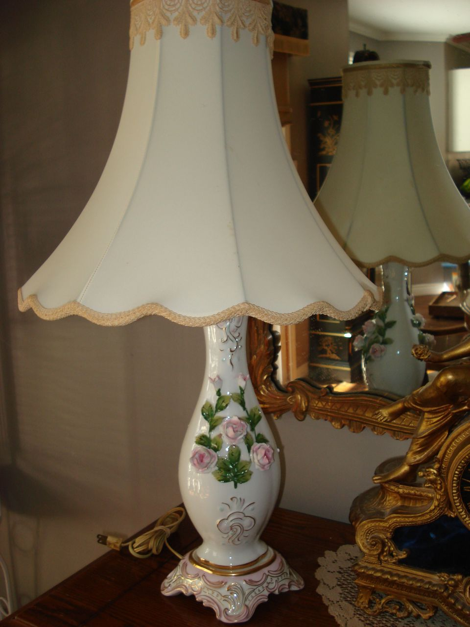 French Porcelain Relief Floral Lamp