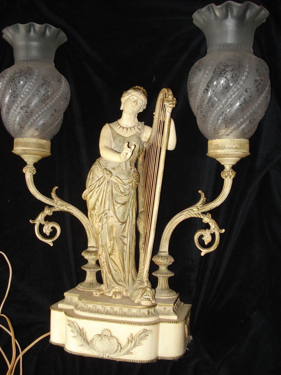 Art Nouveau Unique  Figural Harpist Lamp
