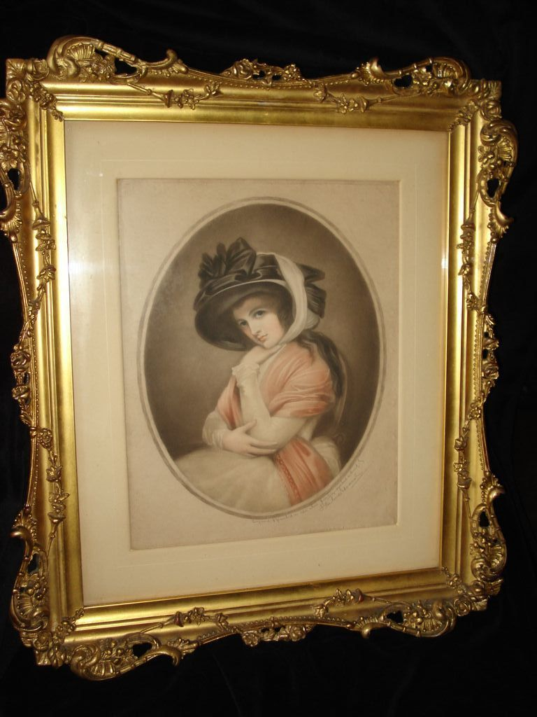 Hand Painted Engraving Of Lady Hamilton