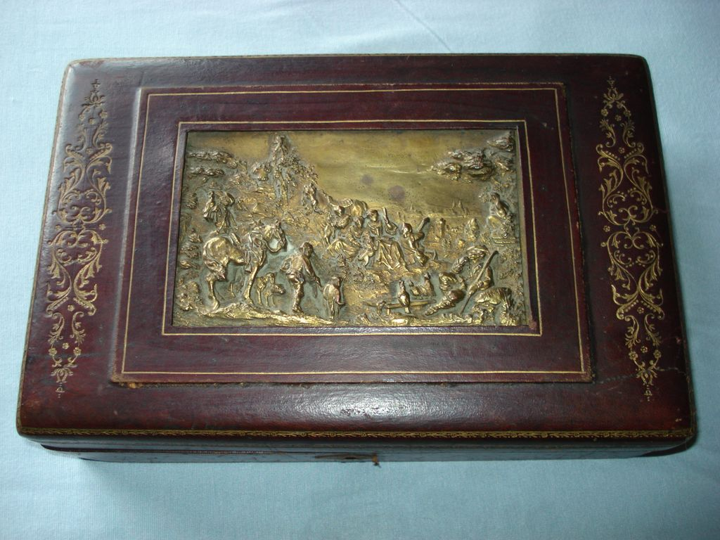 French Leather Bronze Box