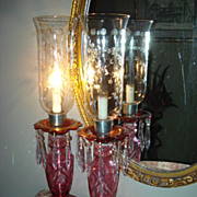 Czechoslovakian Cranberry Hurricane Lamps