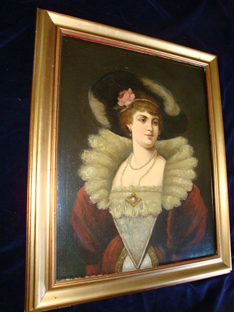 German Oil On Canvas Tudor Court  Noble Woman 19c