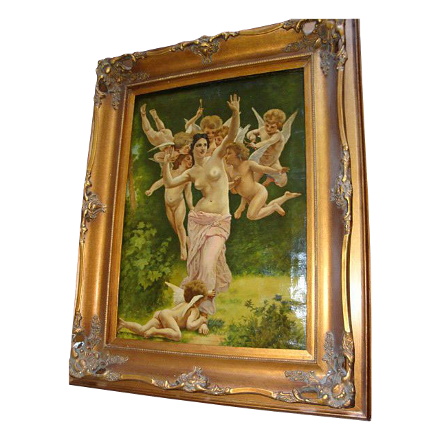 "Large Oil On Canvas Painting ""Allegory Of Love""  c1893"