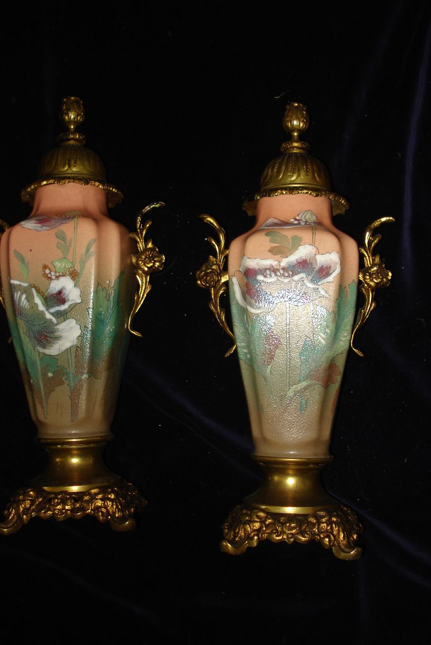 French Hand Painted Ormolu Poppy Urns c19th