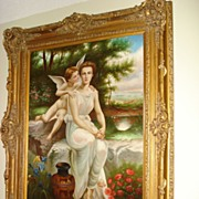 Huge Italian Painting Oil On Canvas Grecian Woman and Cupid