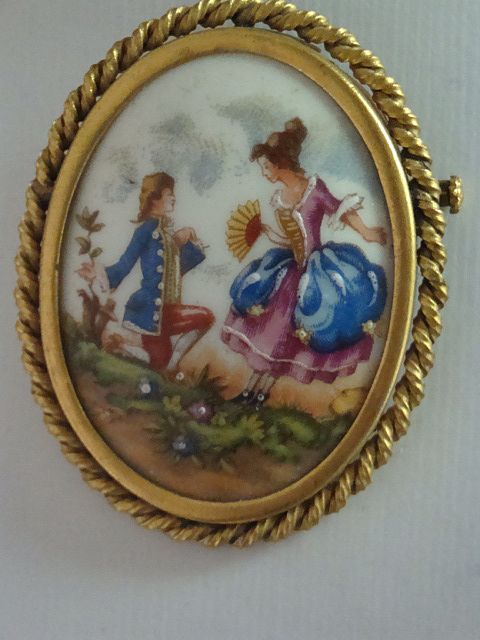 Vintage French Hand Painted Limoges Courtship Brooch