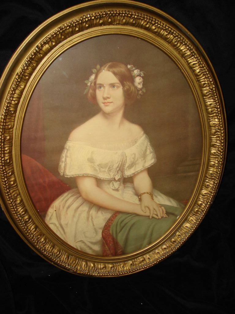 Vintage Wood Gesso Lithograph Of Jenny Lind