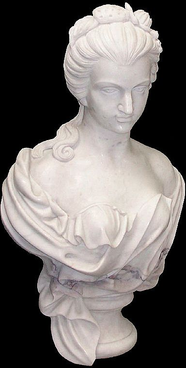 Hand Carved Marble Bust Of Woman