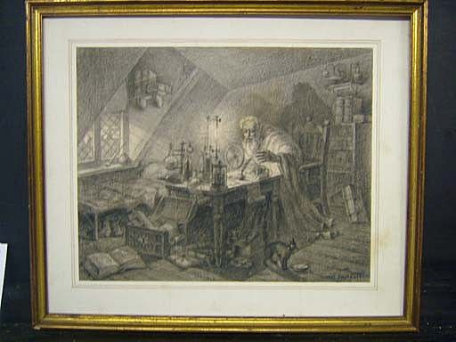 19th Century Sketch Of Alchemist in Laboratory