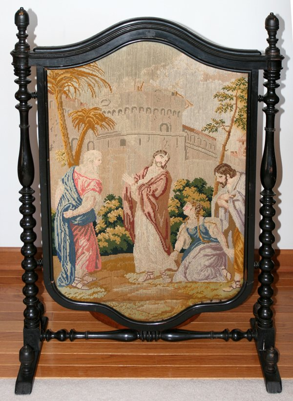 19th Century Tapestry Fireplace Screen