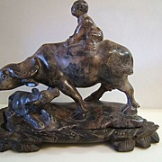 Soapstone Carving Water Buffalo and Child