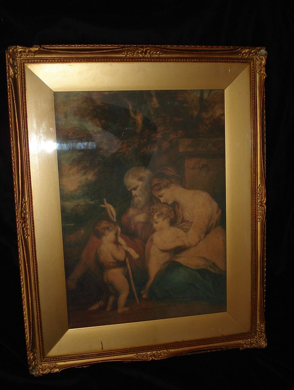 Original 18th Century Watercolor Holy Family