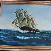 Oil on Canvas Of Clipper Ship At Sea