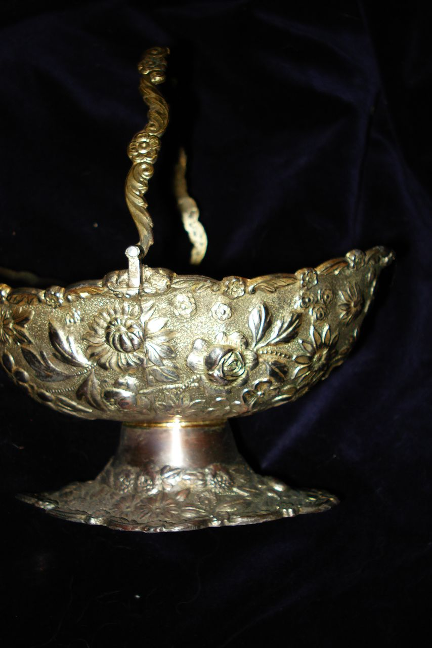 Silver Plate Repousse Japanese Flower Basket
