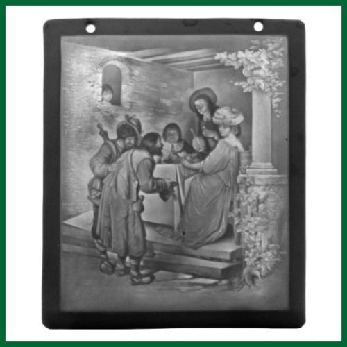 19th Century Lithophane Beggar Scene