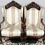 Carved Mahogany Open Arm Chairs
