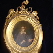 Civil War Period Portrait of Woman Oil On Board c18th