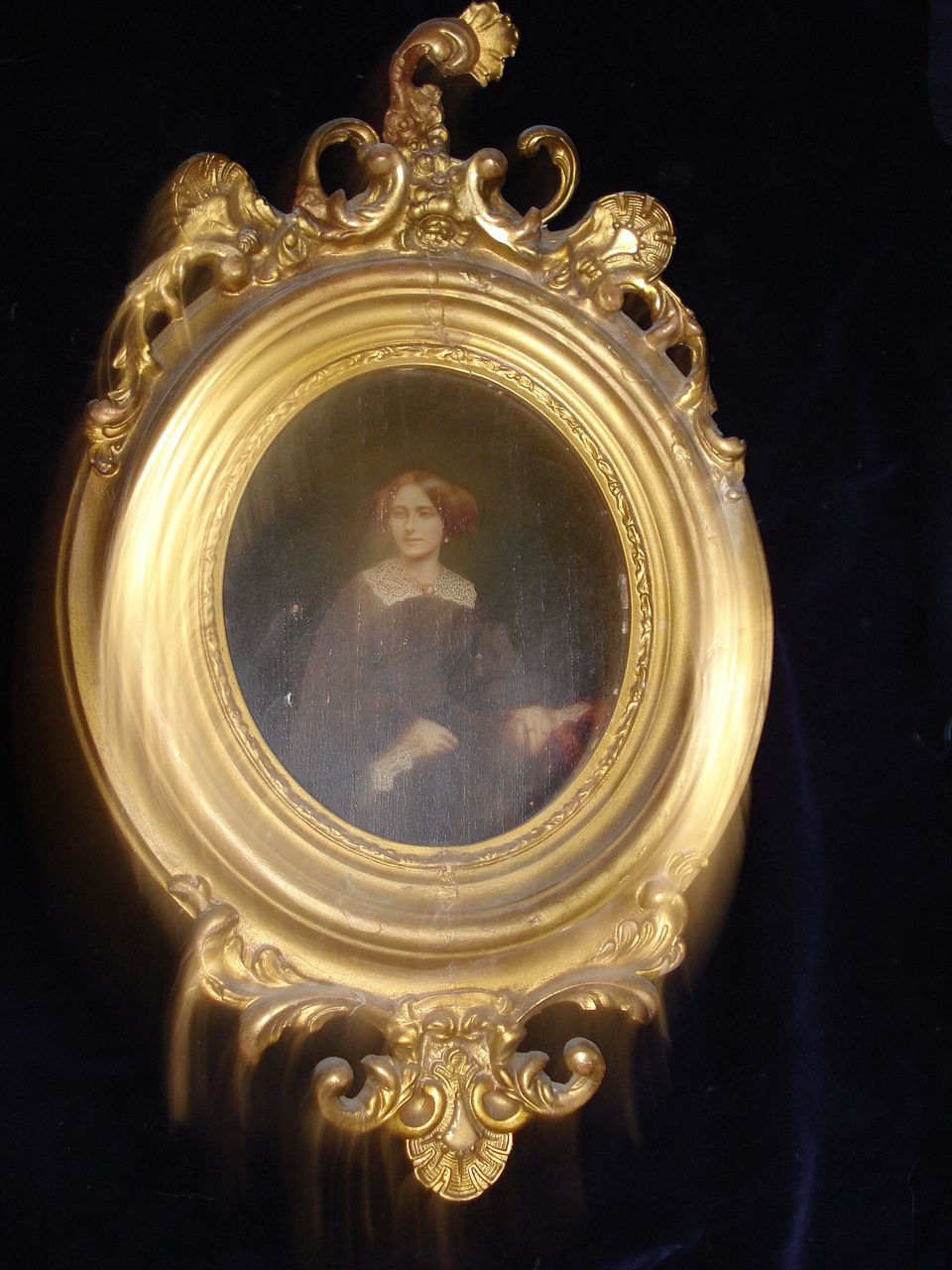 Civil War Period Portrait of Woman Oil On Board c18th