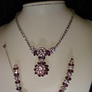 Vintage Crown Trifari Faux Alexandrite/Purple Rhinestone Demi Parure
