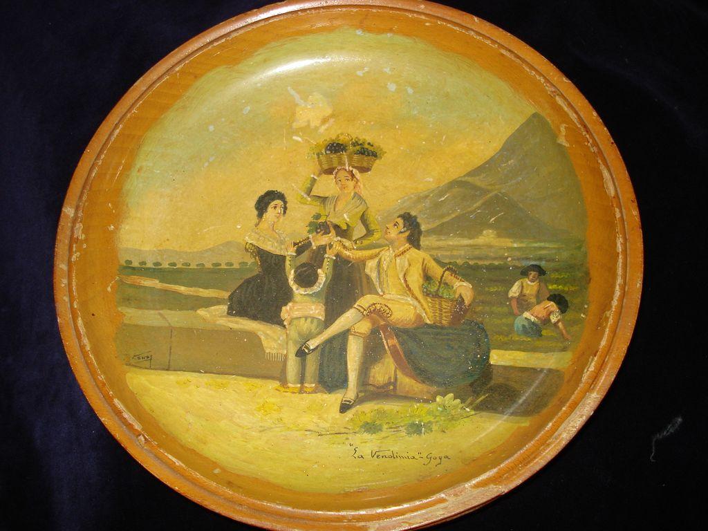 "Wooden Hand Painted Spanish Bowl Signed ""Goya"""