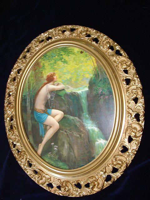 Large Vintage Nude Woman By Waterfall