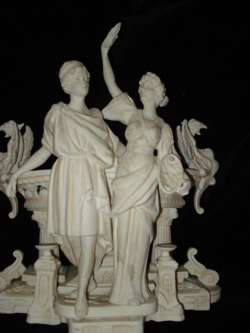 Royal Dux Phoenix and Muse Planter