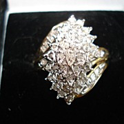 Vintage 10kt yellow Gold Diamond Cocktail Ring