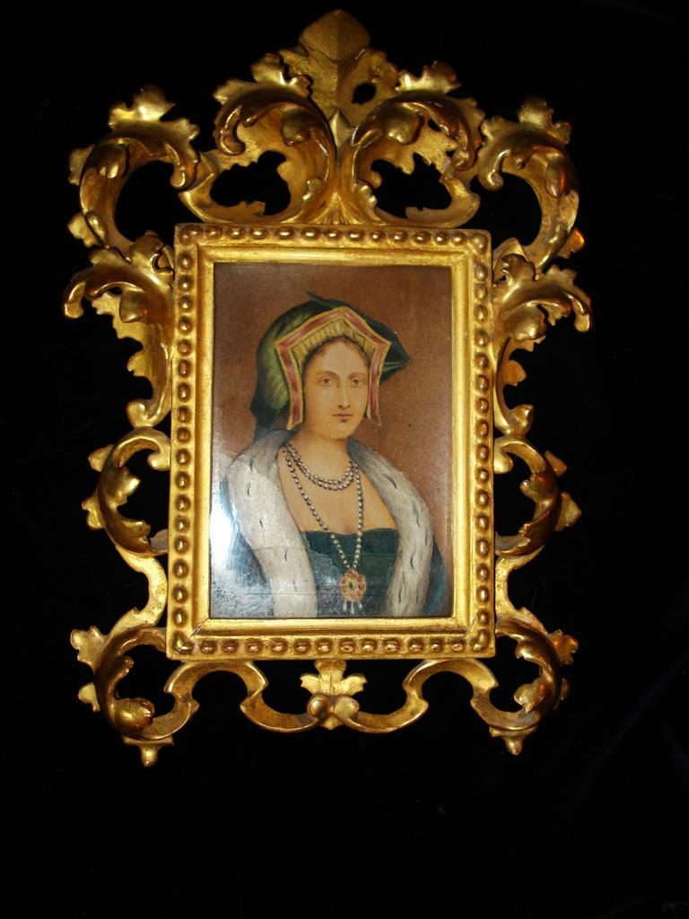 Miniature Rare English Portrait Water Colour Catherine Howard  c19th