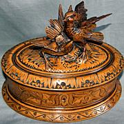Black Forest Hand Carved Bird Box Casket c19th