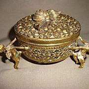 Vintage French Ormolu Cherub Footed Vanity Box