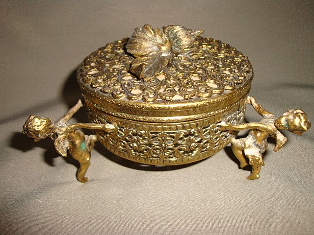 Vintage French Ormolu Cherub Footed Vanity Box