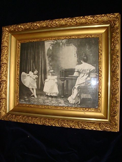 "Black and White Print ""Dancing Lessons"" Wood Gilt Gesso Frame c1900"