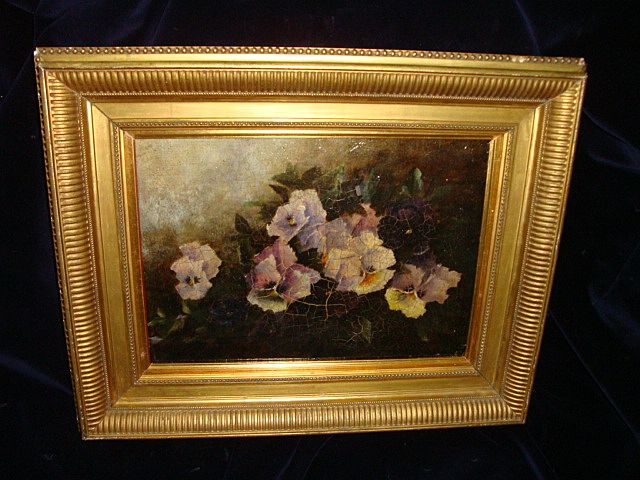 "Oil On Board English School  Pansies signed"" Emma Magnus"" 19th"