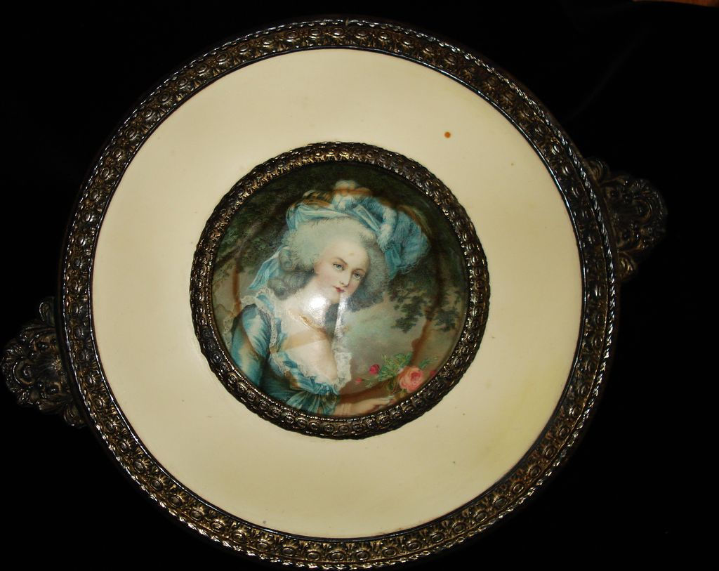 Bronze Celluloid Portrait Footed Glass Box Marie Antoinette