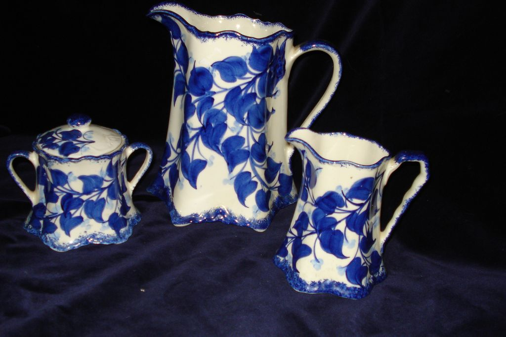 Vintage 3 Piece Milk Jug and Cream and Sugar signed Cash Family