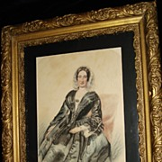 English Water Colour Study Of Woman In Gesso Frame c19th
