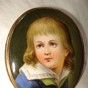 Miniature French  Hand Painting On Porcelain Of Young Boy