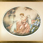 Art Nouveau Water Colour Painting Woman and Russian Wolf Hounds