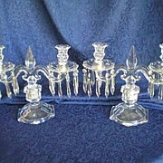 Depression Glass Trident Pair Table Candelabra