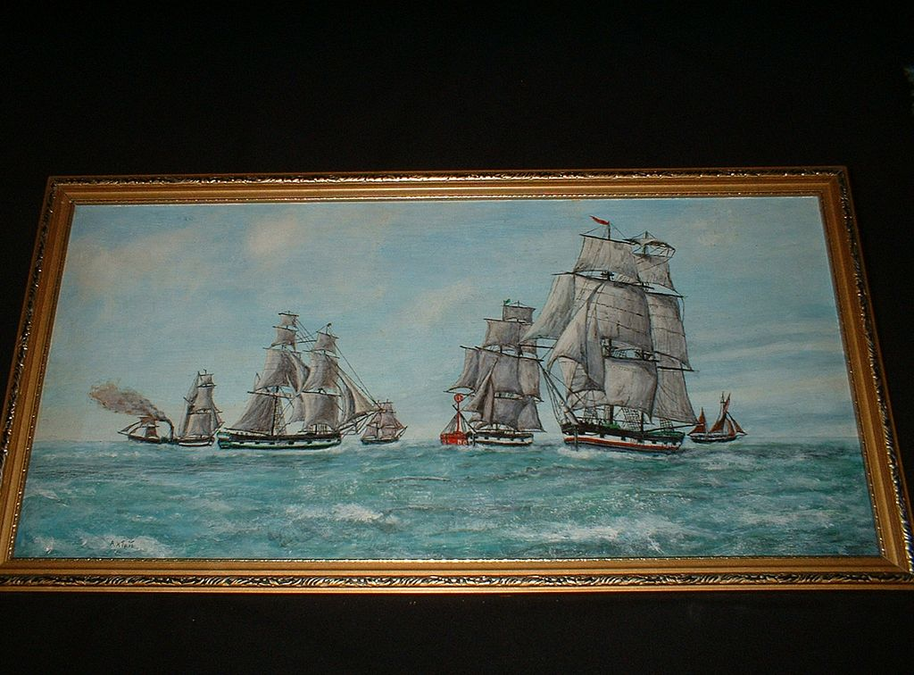 Vintage Oil On Board Fleet Of Tall Ships At Sea c1945