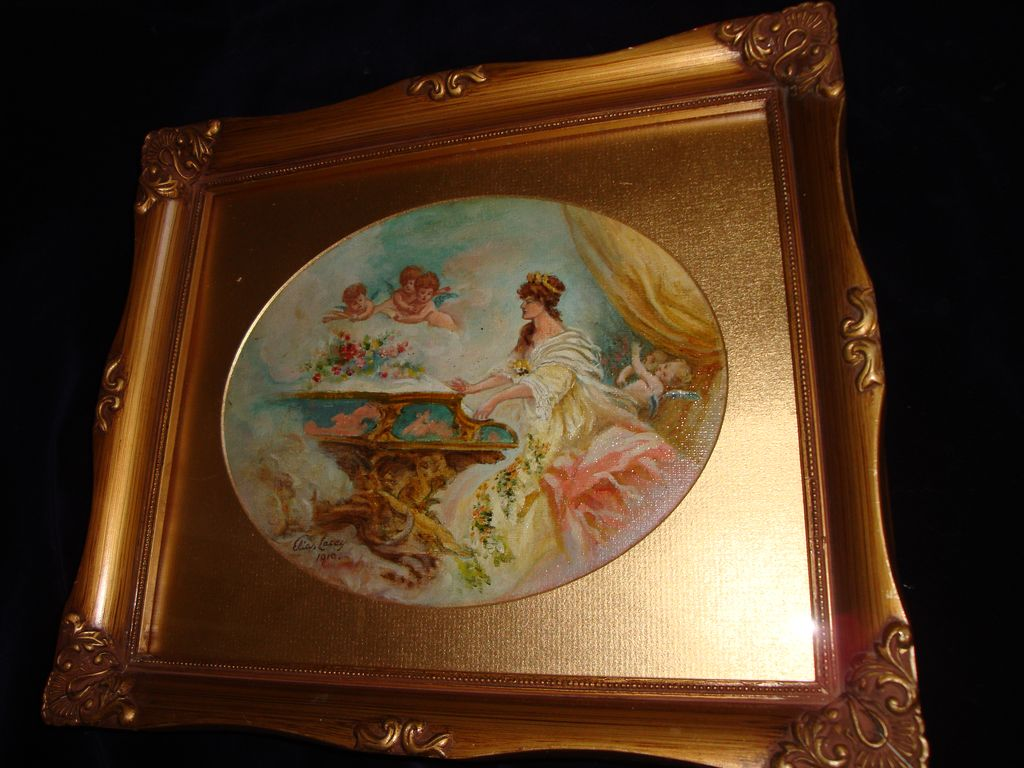 Oil On Canvas Painting Woman and Cherubs c1910