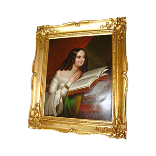 Europeon Old School Oil Panel Of Young Woman Reading