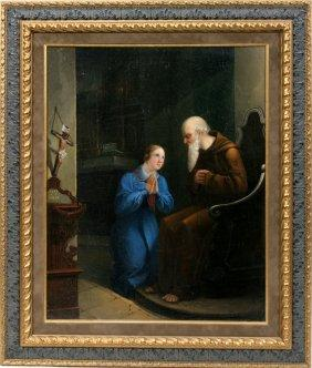 German Old Master Oil On Canvas Monk and Child Religious Genre  Painting c19th