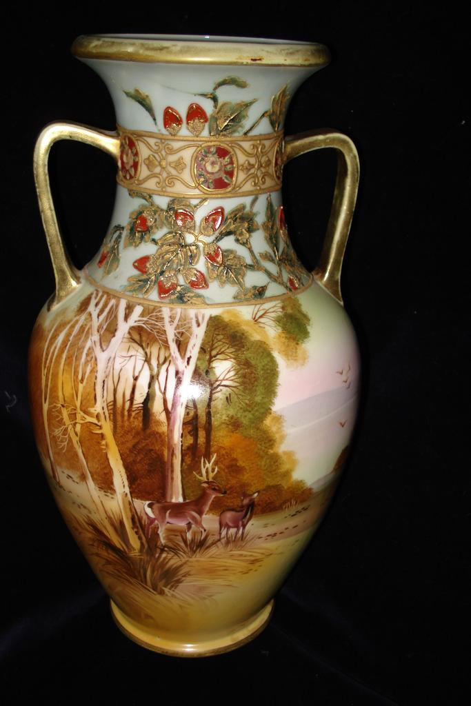 Hand Painted Japanese Large Moriage Deer Urn c1900
